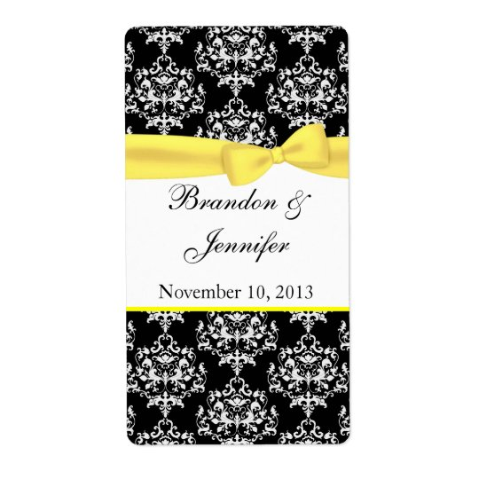 Black & White with Yellow Damask Mini Wine Labels