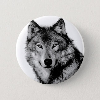 Black & White Wolf 6 Cm Round Badge