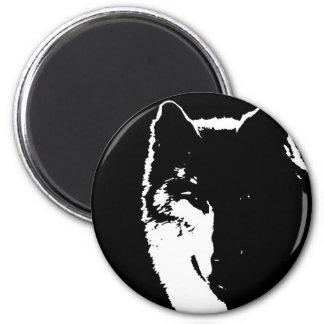 Black & White Wolf 6 Cm Round Magnet