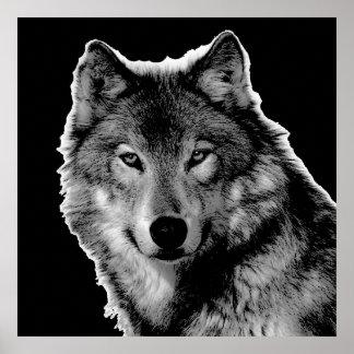 Black & White Wolf Artwork Poster