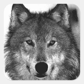 Black & White Wolf Artwork Square Sticker