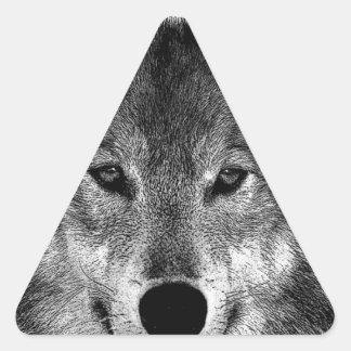 Black & White Wolf Artwork Triangle Sticker