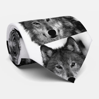 Black & White Wolf Artwork Tie
