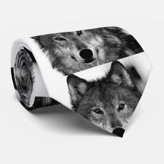 Black & White Wolf Artwork Tie