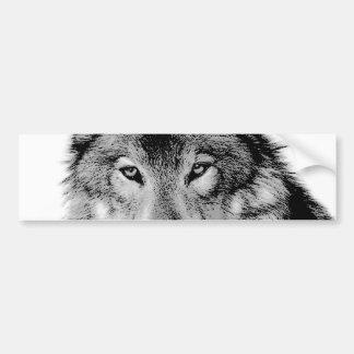 Black & White Wolf Bumper Sticker