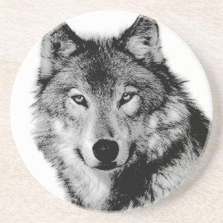 Black & White Wolf Coaster