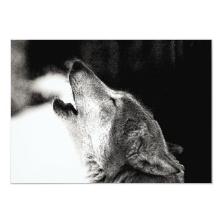 Black & White Wolf Howling at Moon Invitation
