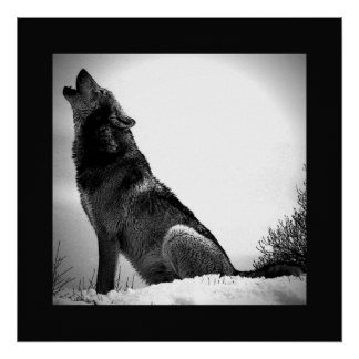Black & White Wolf Howling at Moon Poster Print