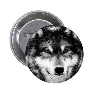 Black White Wolf Pin
