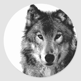 Black & White Wolf Portrait Classic Round Sticker