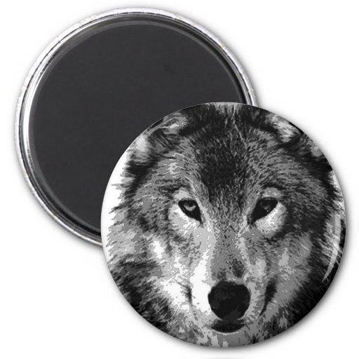 Black & White Wolf Portrait Refrigerator Magnets