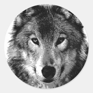 Black & White Wolf Portrait Round Sticker