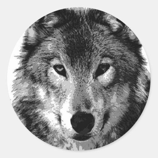 Black & White Wolf Portrait Round Stickers