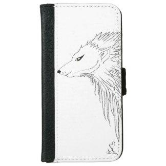 Black & White Wolf Sketch iPhone 6 Wallet Case