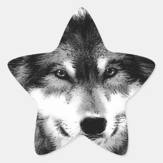 Black & White Wolf Star Sticker