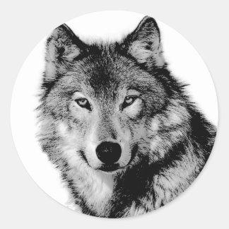 Black & White Wolf Round Stickers