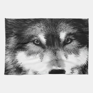 Black & White Wolf Tea Towel