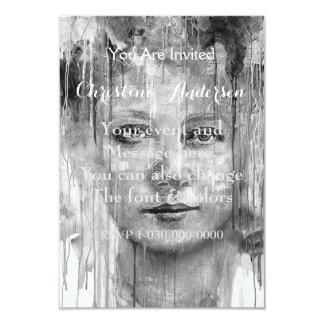 Black&White Woman Painting Dripping 9 Cm X 13 Cm Invitation Card