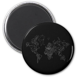 black white world map low poly polygon triangle 6 cm round magnet