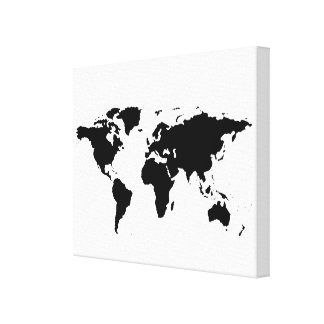 black white world-map stretched canvas print