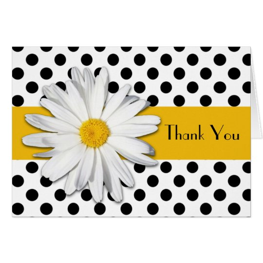 Black White Yellow Daisy Polka Dots Thank You Card