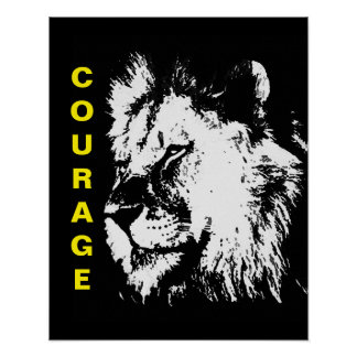 Black White Yellow Pop Art Courage Lion Poster