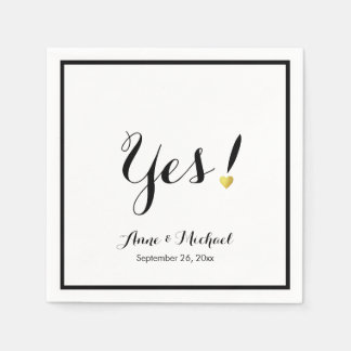 black/white Yes! wedding reception party Paper Napkin