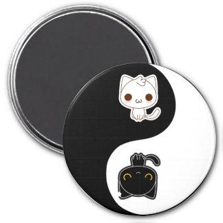Black & White Yin Yang cats 7.5 Cm Round Magnet