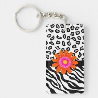 Black & White Zebra & Cheetah Skin & Orange Flower Double-Sided Rectangular Acrylic Keychain