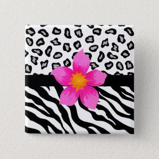 Black & White Zebra & Cheetah Skin & Pink Flower 15 Cm Square Badge