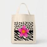 Black & White Zebra & Cheetah Skin & Pink Flower Grocery Tote Bag