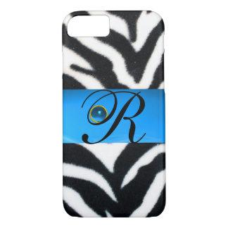 BLACK WHITE ZEBRA FUR AQUA BLUE GEM MONOGRAM, iPhone 8/7 CASE