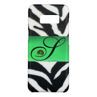 BLACK WHITE ZEBRA FUR EMERALD GREEN GEM MONOGRAM, Case-Mate SAMSUNG GALAXY S8 CASE