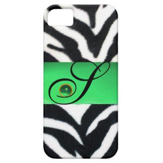 BLACK WHITE ZEBRA FUR EMERALD GREEN GEM MONOGRAM, iPhone 5 COVER