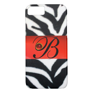 BLACK WHITE ZEBRA FUR  RED  GEM MONOGRAM, iPhone 8/7 CASE