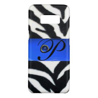 BLACK WHITE ZEBRA FUR SAPPHIRE  BLUE GEM MONOGRAM, Case-Mate SAMSUNG GALAXY S8 CASE