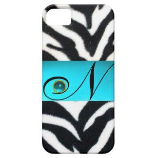 BLACK WHITE ZEBRA FUR TEAL AQUA BLUE GEM MONOGRAM, iPhone 5 COVER