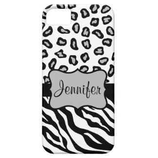 Black White Zebra Leopard Skin Name Personalized iPhone 5 Cover