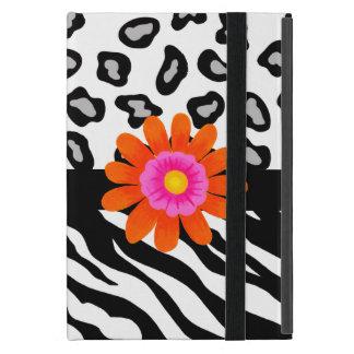 Black & White Zebra & Leopard Skin & Orange Flower iPad Mini Covers
