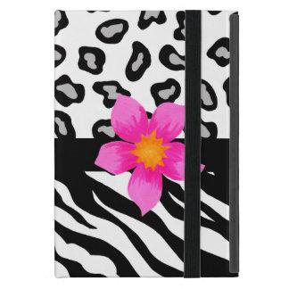 Black & White Zebra & Leopard Skin Pink Flower iPad Mini Cover