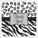 Black White Zebra Leopard Skin Thank You Square Sticker