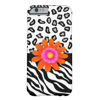 Black White Zebra Leopard Skin with Orange Flower Barely There iPhone 6 Case
