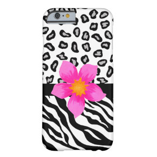 Black White Zebra Leopard Skin with Pink Flower Barely There iPhone 6 Case