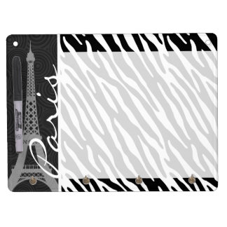 Black & White Zebra; Paris Dry Erase Board With Key Ring Holder