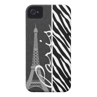Black & White Zebra; Paris iPhone 4 Case-Mate Case