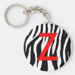 Black & White Zebra Print Keychains