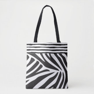 Black White Zebra Print Stripes Hipster Tote Bag