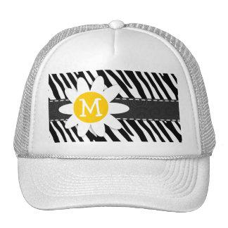 Black & White Zebra; Spring Daisy Trucker Hat