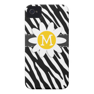 Black & White Zebra; Spring Daisy iPhone 4 Case-Mate Cases