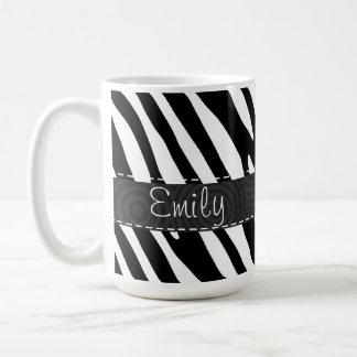Black & White Zebra Stripes Basic White Mug